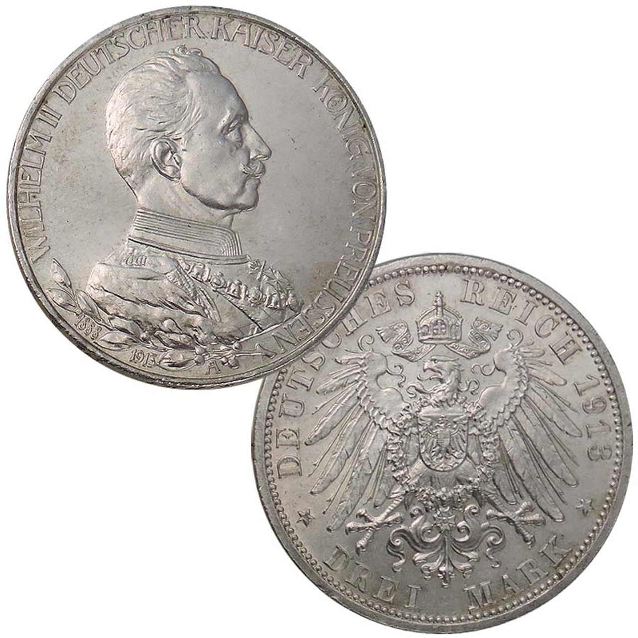 Prussia 1913 or 1914 Silver Jubilee of Wilhelm II 3 Mark Extra Fine to About Uncirculated Image 1