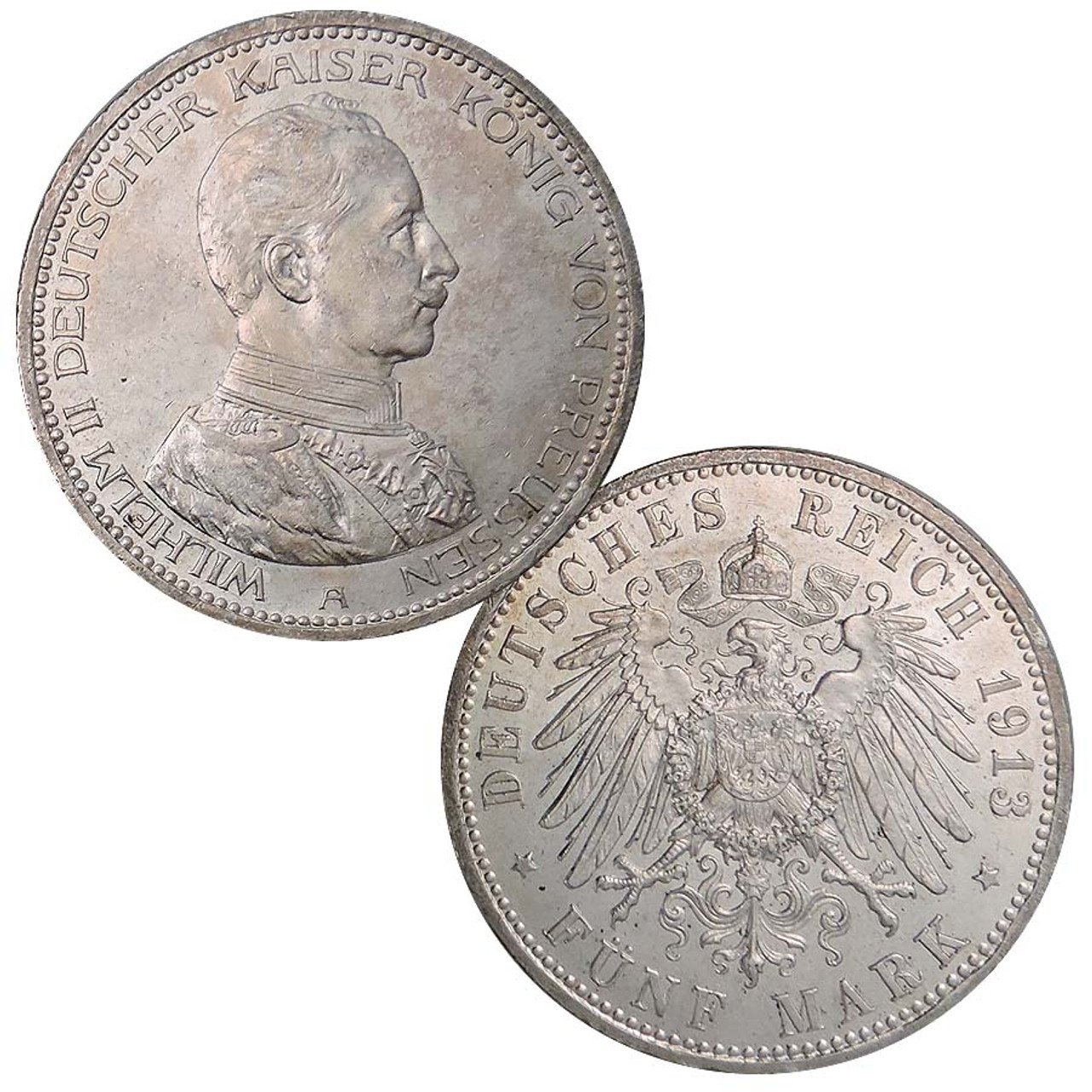Prussia 1913 or 1914 Silver Jubilee of Wilhelm II 5 Mark Extra Fine to About Uncirculated Image 1
