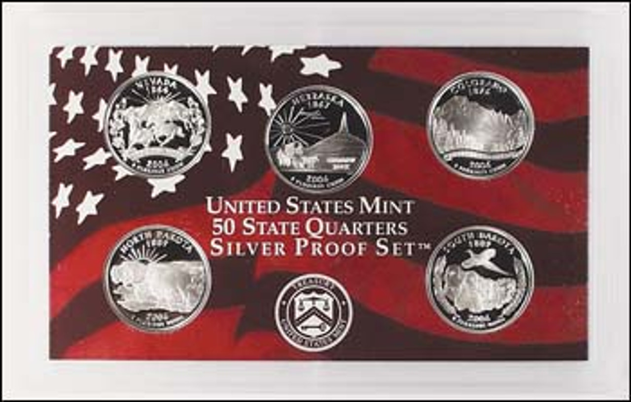 2006-S Statehood Quarter Silver Proof Set 5 Coins Image 1