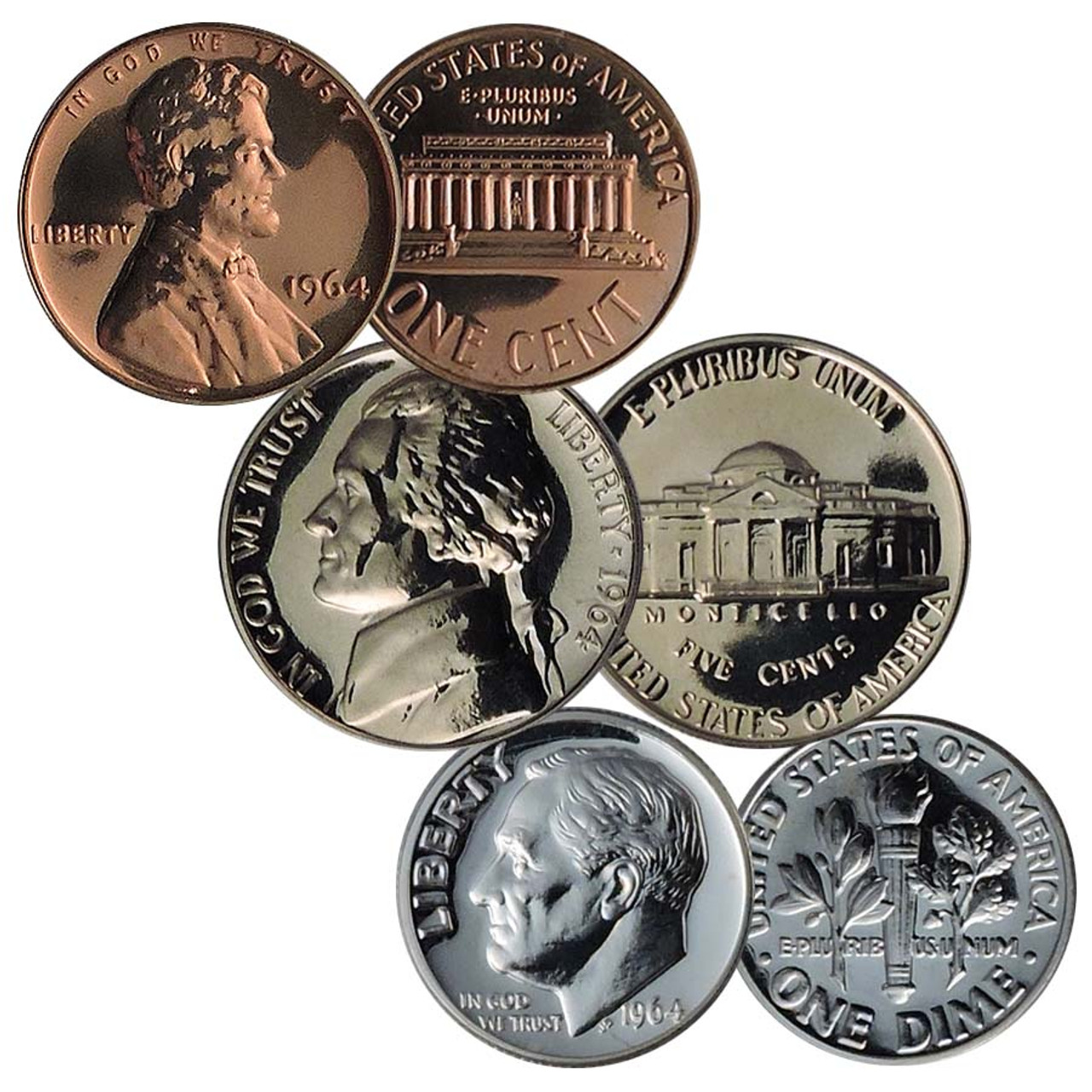 1964 Cent, Nickel and Dime Proof Trio Image 1
