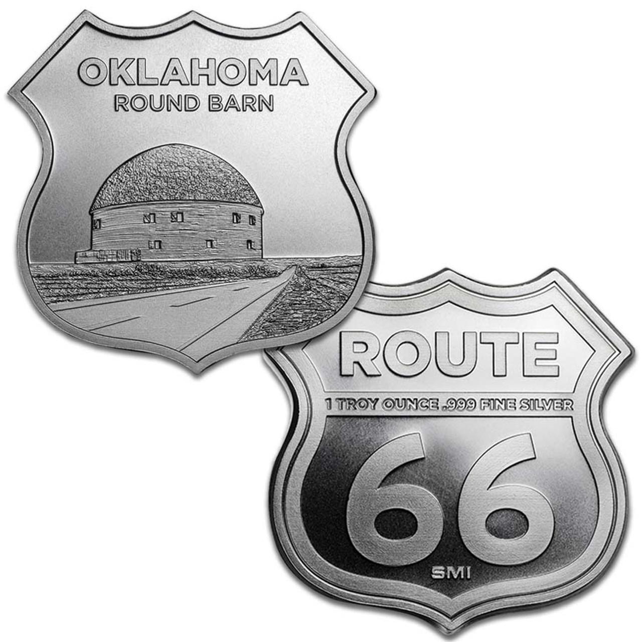Route 66 Oklahoma Round Barn 1-Oz. Silver Shield Image 1