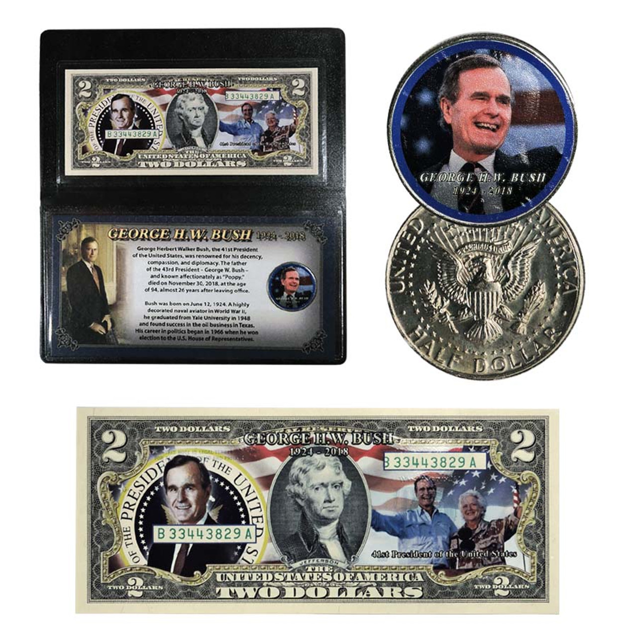 George H. W. Bush Colorized Tribute Coin and Currency Set