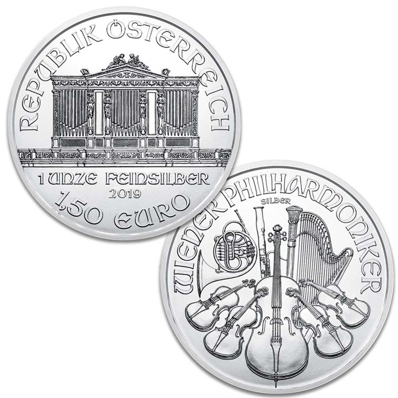 Austria 2019 1 Oz. Silver Philharmonic 1.5 Euro, Brilliant Uncirculated