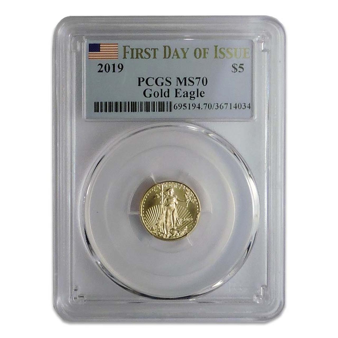 U.S. 2019 1/10 Oz. $5 Gold Eagle Certified MS-70