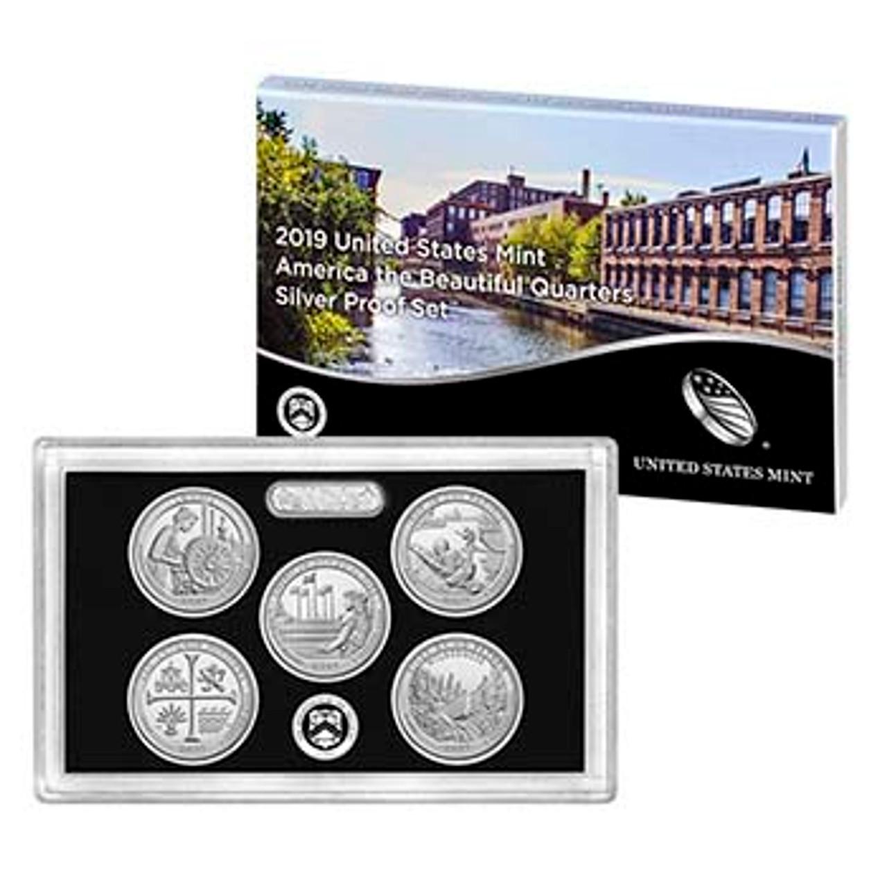 2019 National Parks Silver Quarter Proof Set 5 Coins Image 1