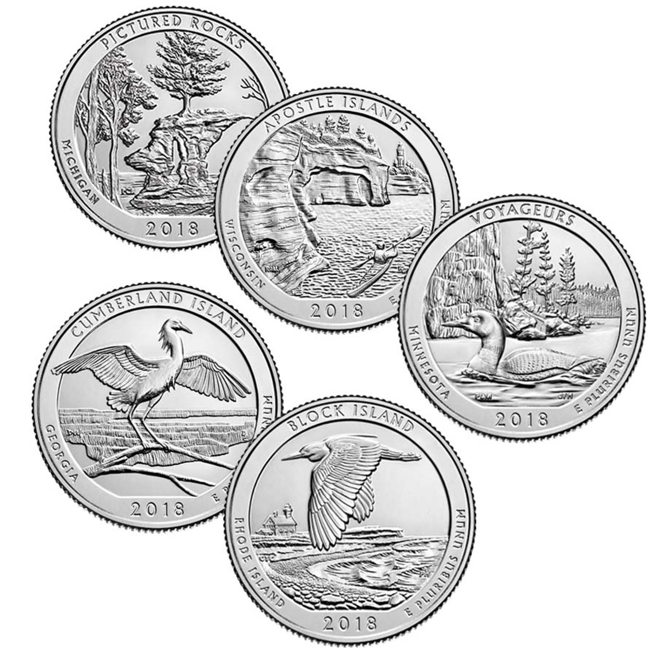 2018 National Park Quarters 5 Coins Brilliant Uncirculated Image 1
