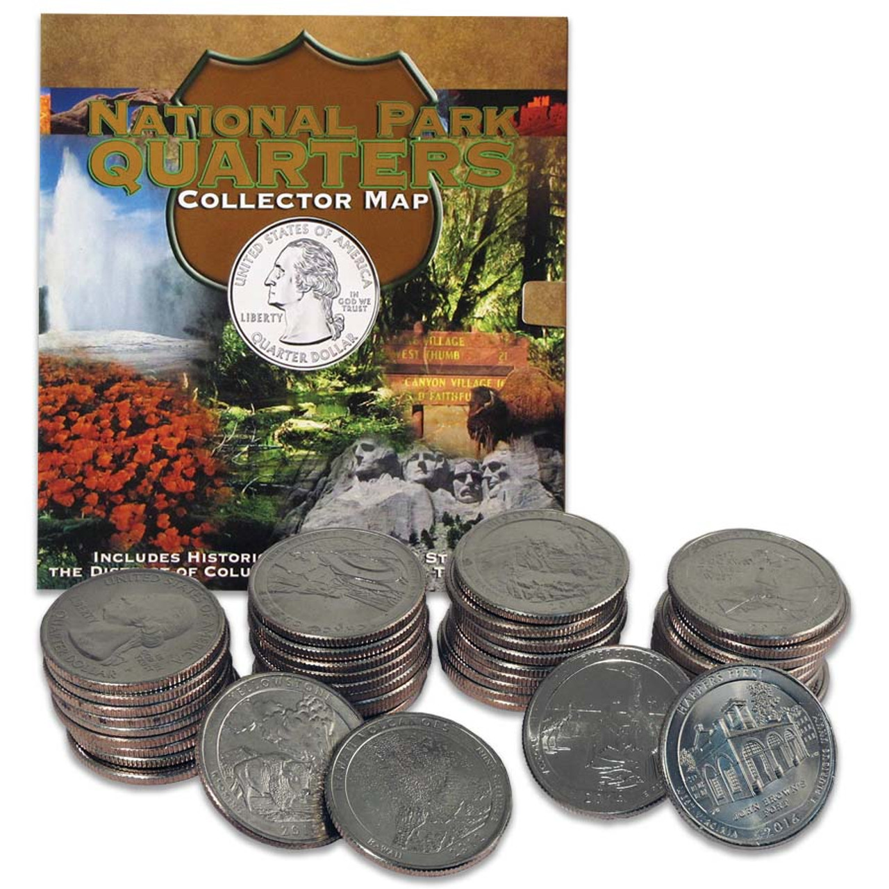 National Park Quarters Collector Map with 2010-2018 Quarters