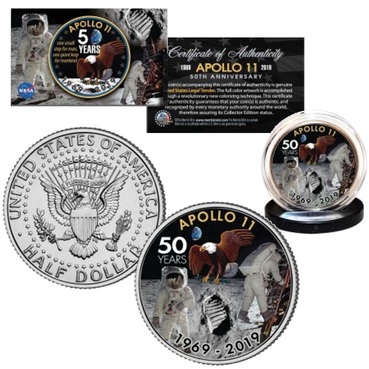 Apollo 11 50th Anniversary Colorized Kennedy Half Dollar Image 1
