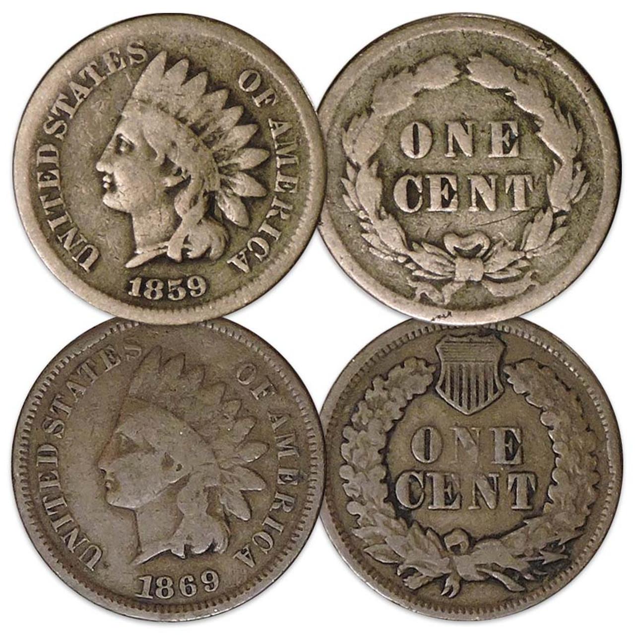 1859 & 1869 Indian Head Cent Pair Good