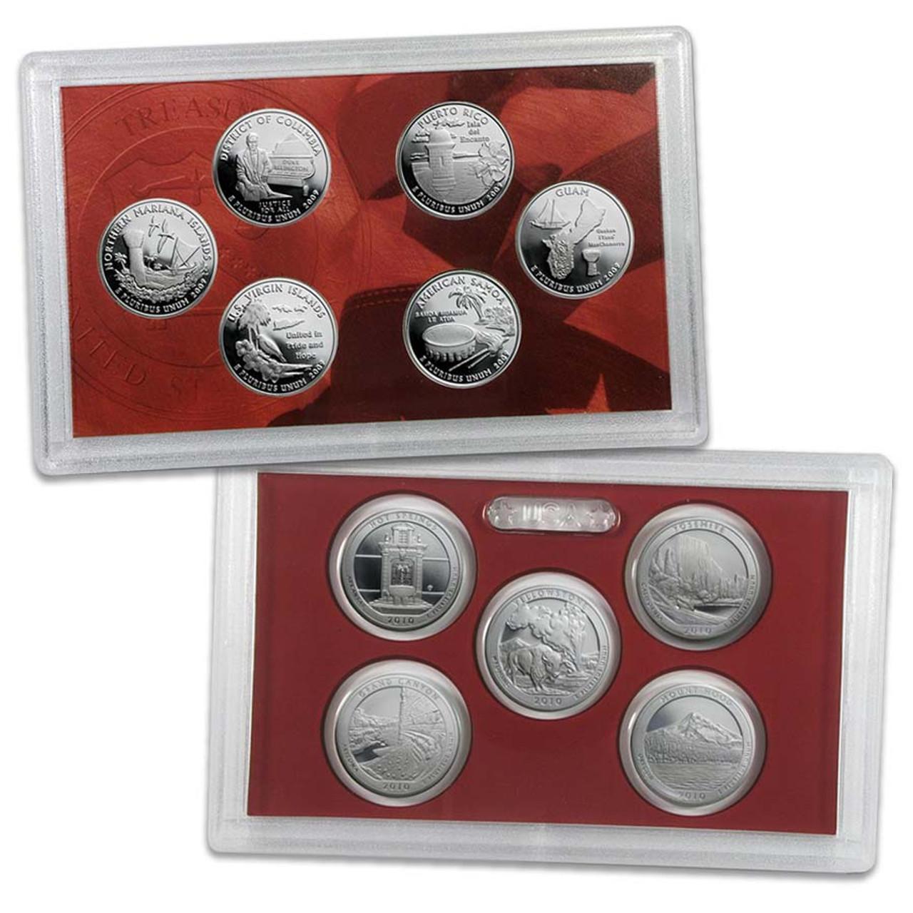 U.S. 2009 & 2010 Silver Quarter Proof Set Pair