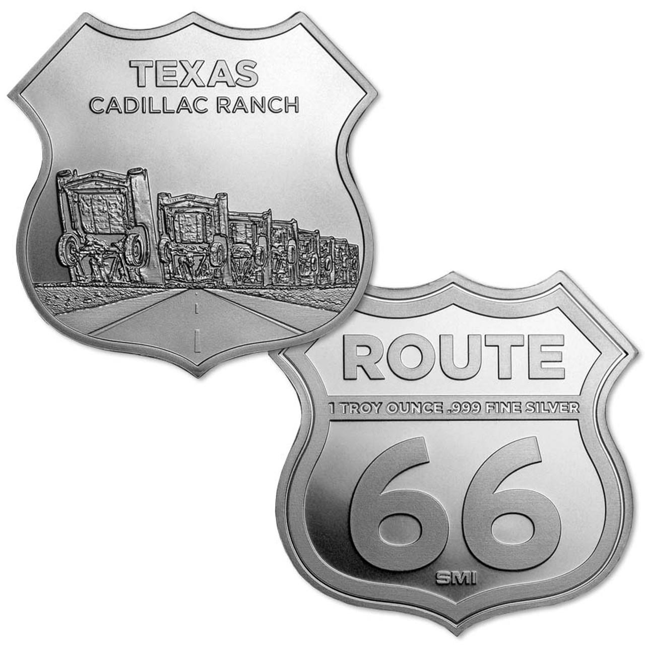 Route 66 Texas Cadillac Ranch 1-Oz. Silver Shield Image 1