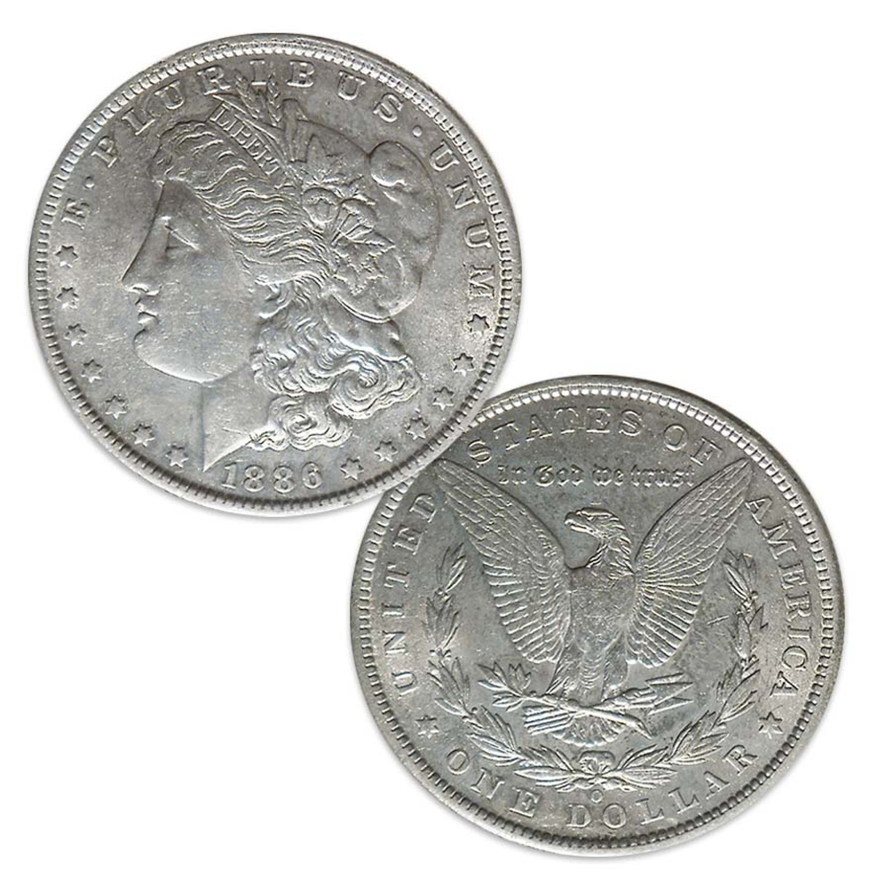 1886-O Morgan Silver Dollar About Uncirculated Image 1