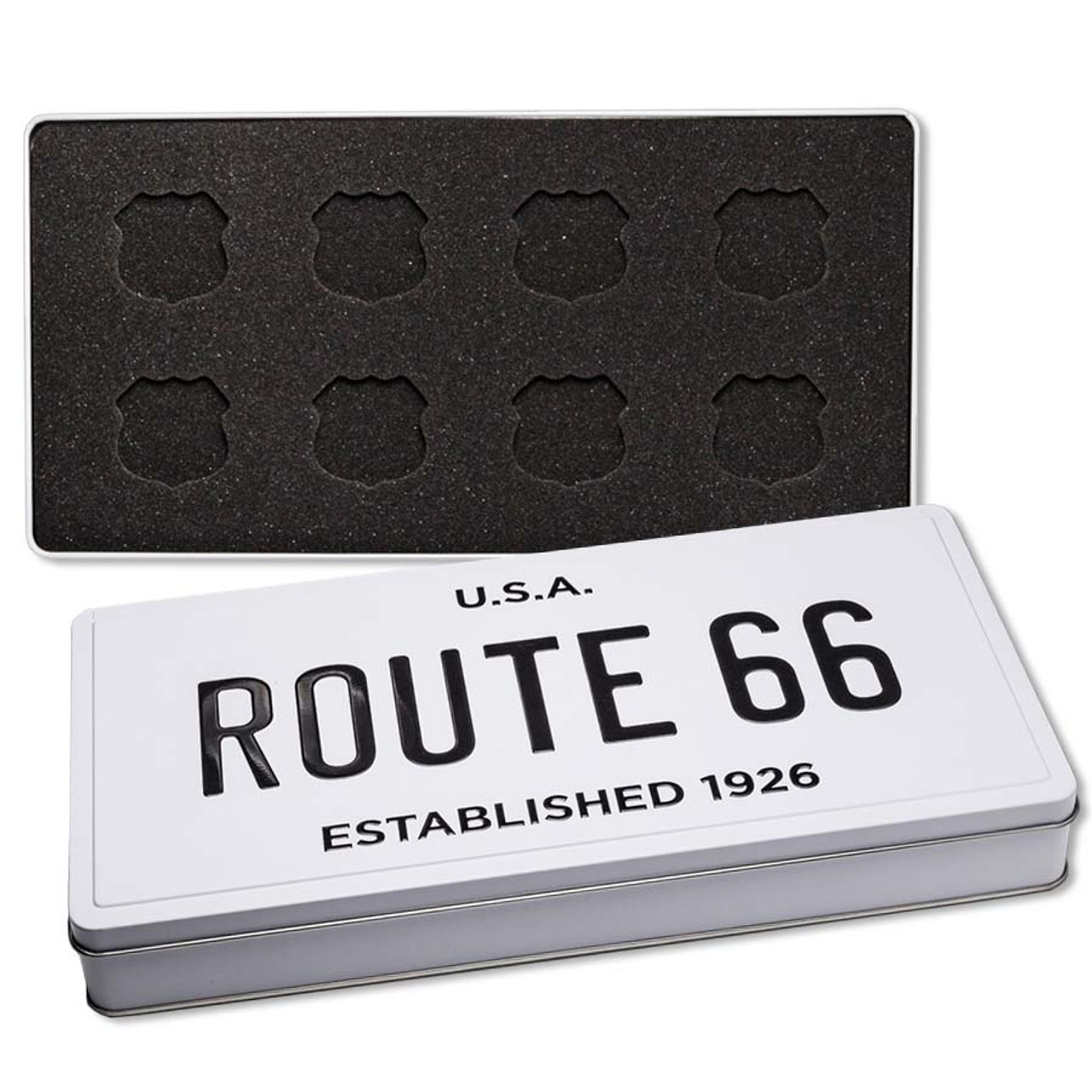 Custom Route 66 License Plate Case for Silver Shields Image 1