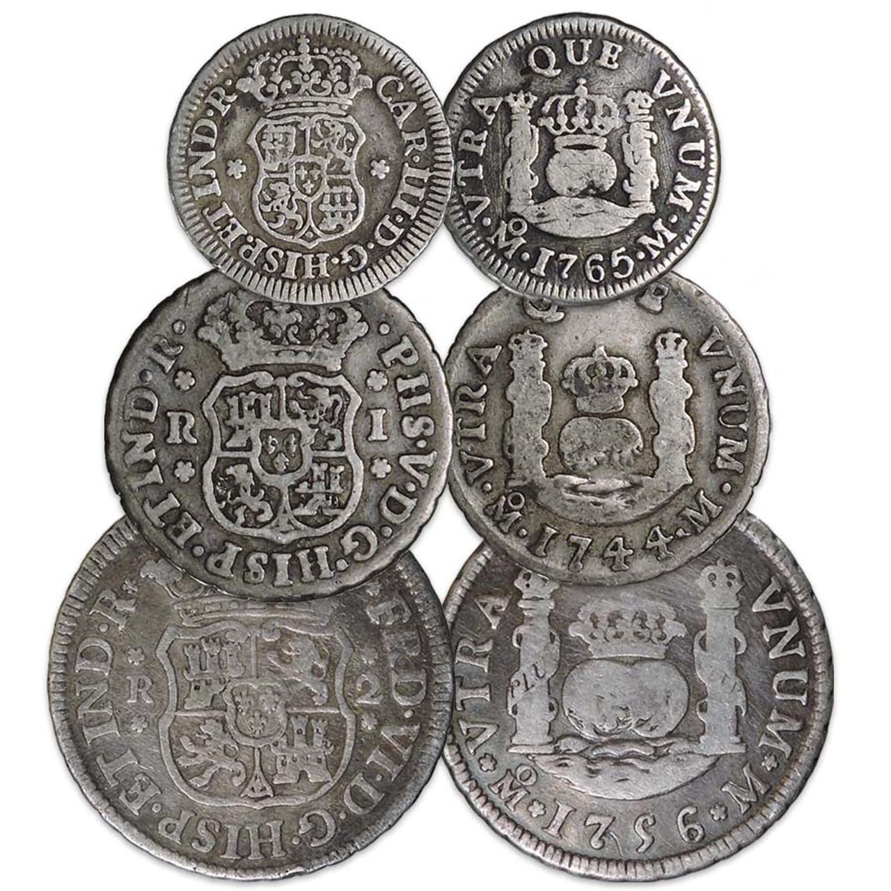 Mexico 1732-1772 Pillar 1/2, 1 & 2 Reales Trio