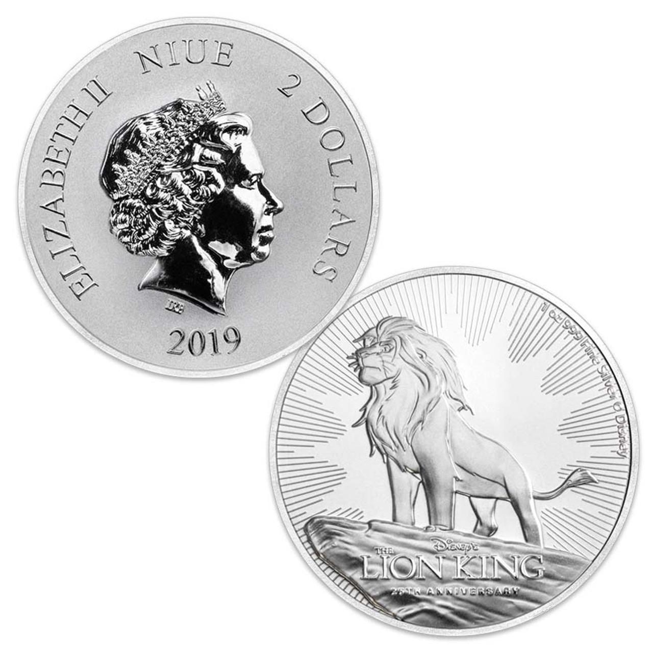 Niue Island 2019 Disney Lion King 25th Anniversary 1-Oz. Silver $2 Brilliant Uncirculated