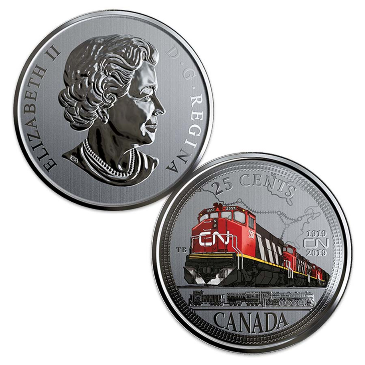 Canada 2019 Canadian National Railway 100th Anniversary Colorized Quarter