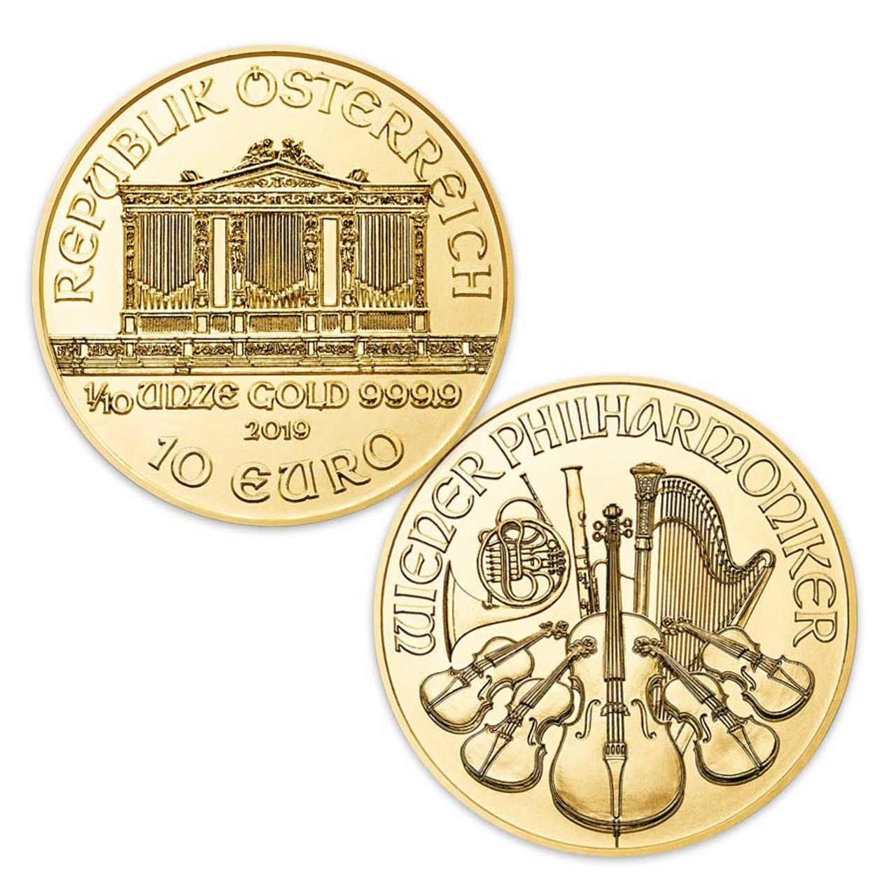 Austria 2019 Philharmonic 1/10 Oz. Gold 10 Euro, Brilliant Uncirculated