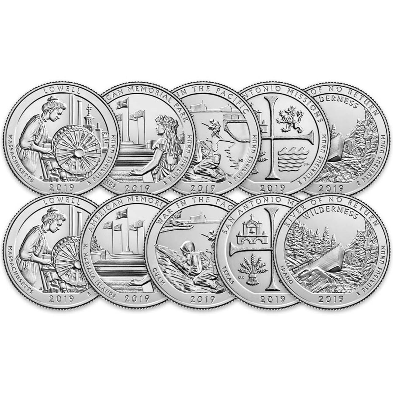 2019 P & D National Parks Quarter 10 Coin Set Brilliant Uncirculated Image 1