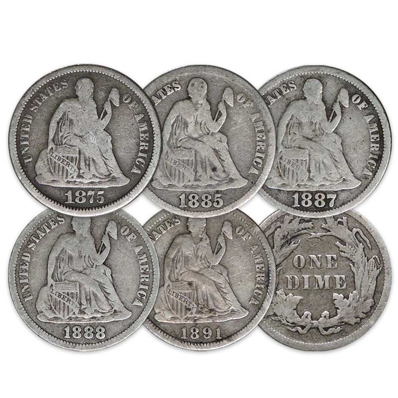 1860-1891 Seated Liberty Silver Dime with Legend Set of 5 Different Good