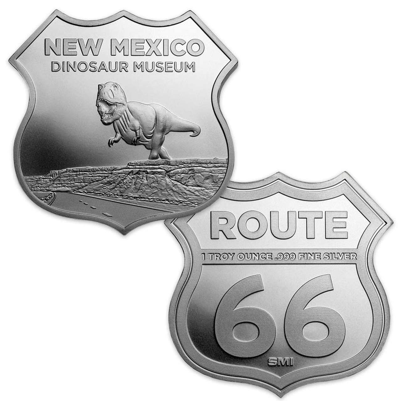 Route 66 New Mexico Dinosaur Museum 1-Oz. Silver Shield Image 1