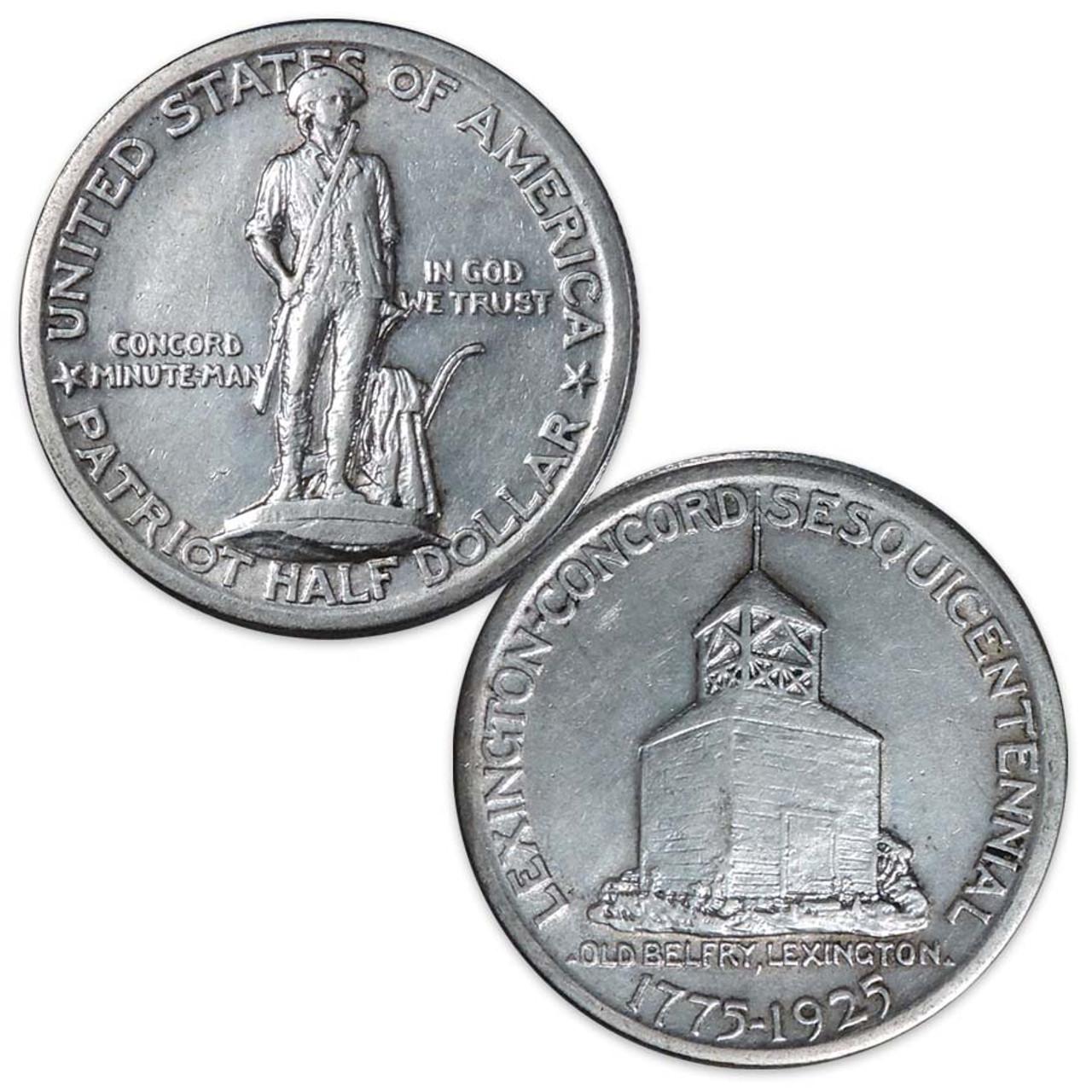 U.S. 1925 Lexington-Concord Sesquicentennial Silver Half Dollar, Extra Fine