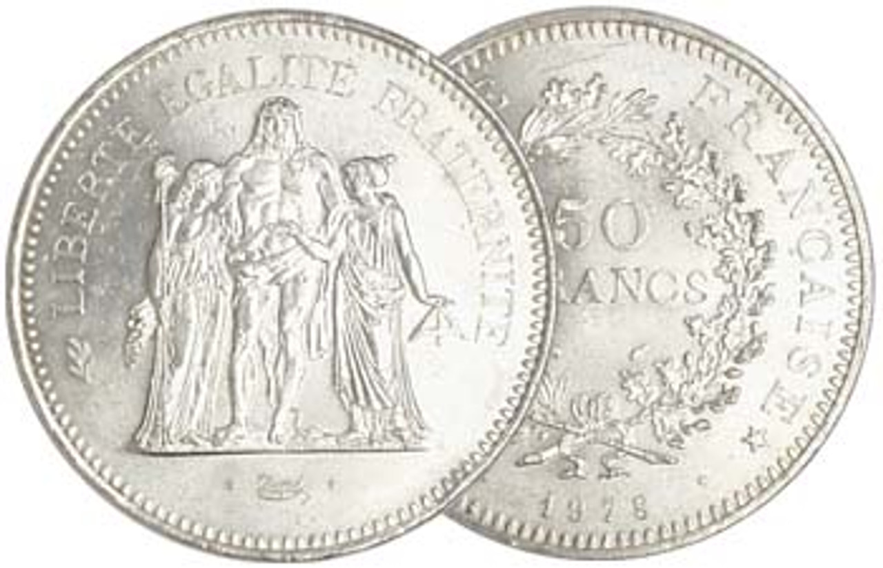 France 1974-1979 Hercules 50 Franc Silver Brilliant Uncirculated Image 1