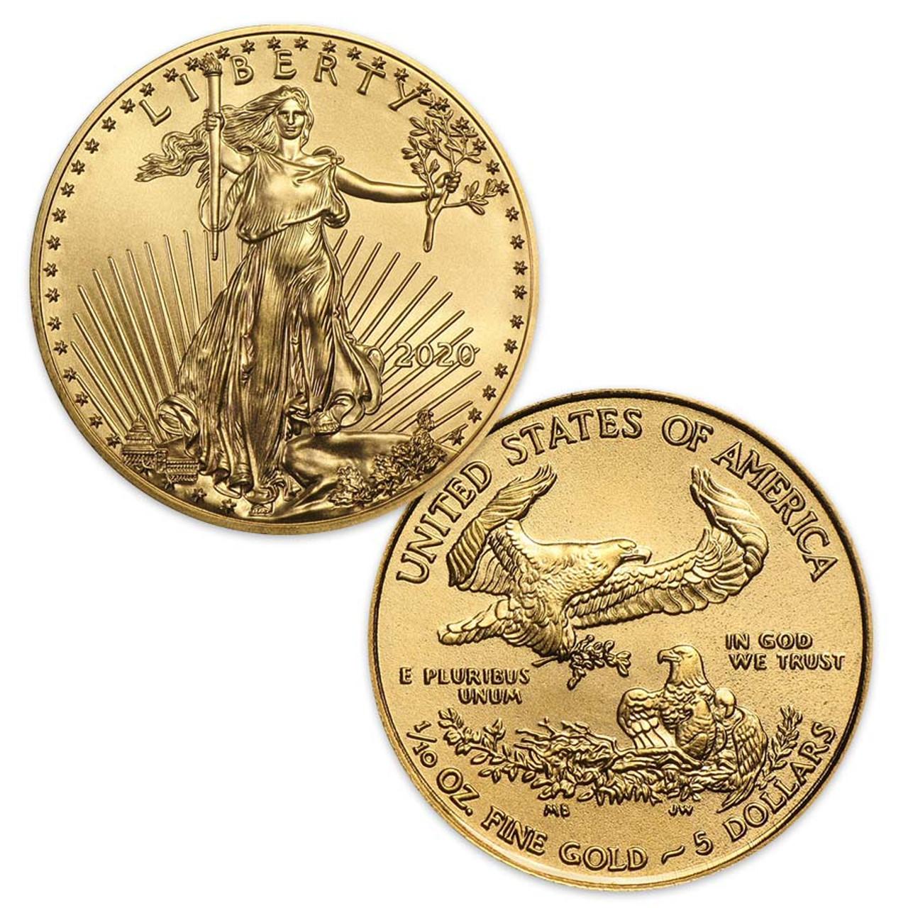 2020 1/10-Oz. $5 Gold Eagle Brilliant Uncirculated Image 1