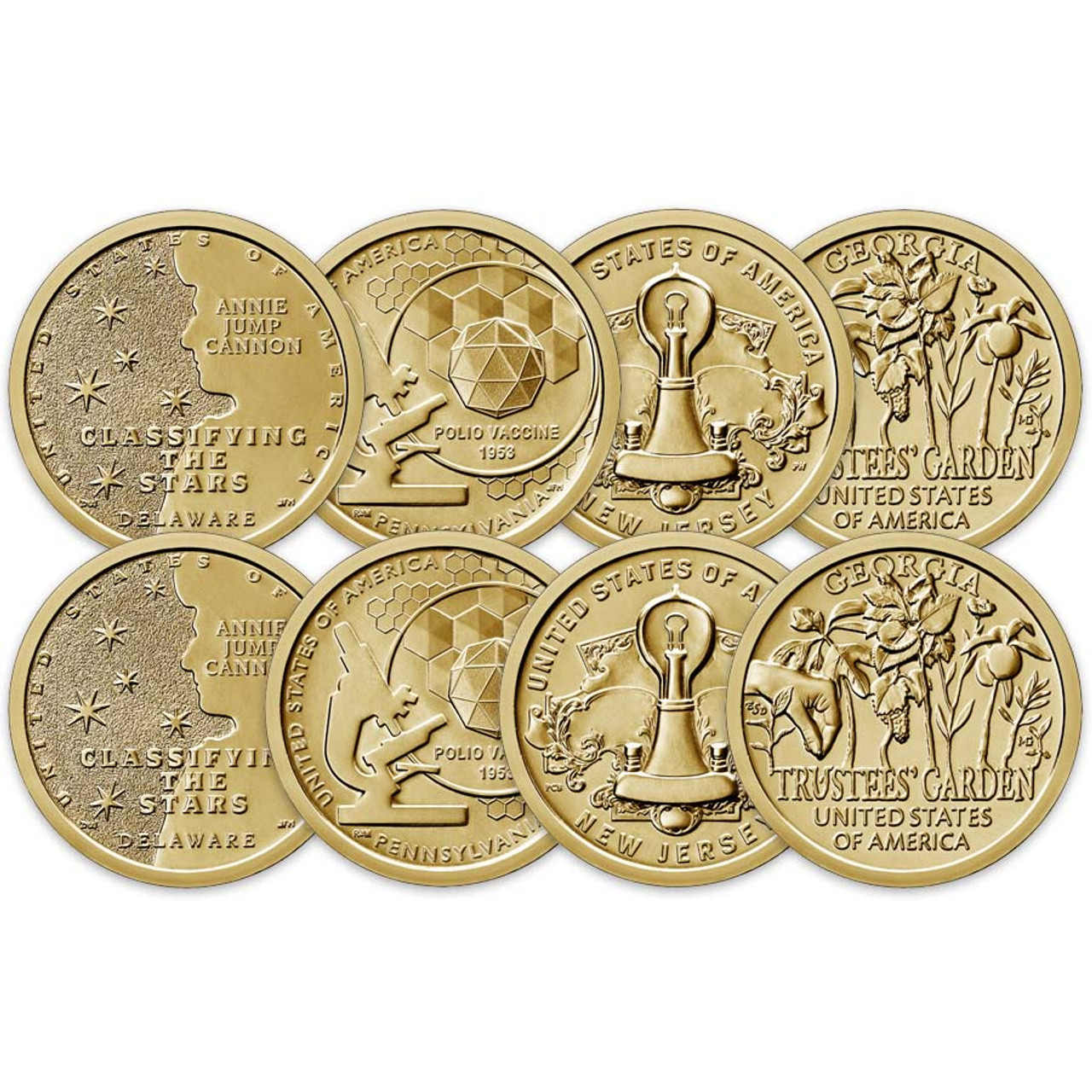 2019 P & D Innovation Dollar 8 Coin Set Brilliant Uncirculated Image 1