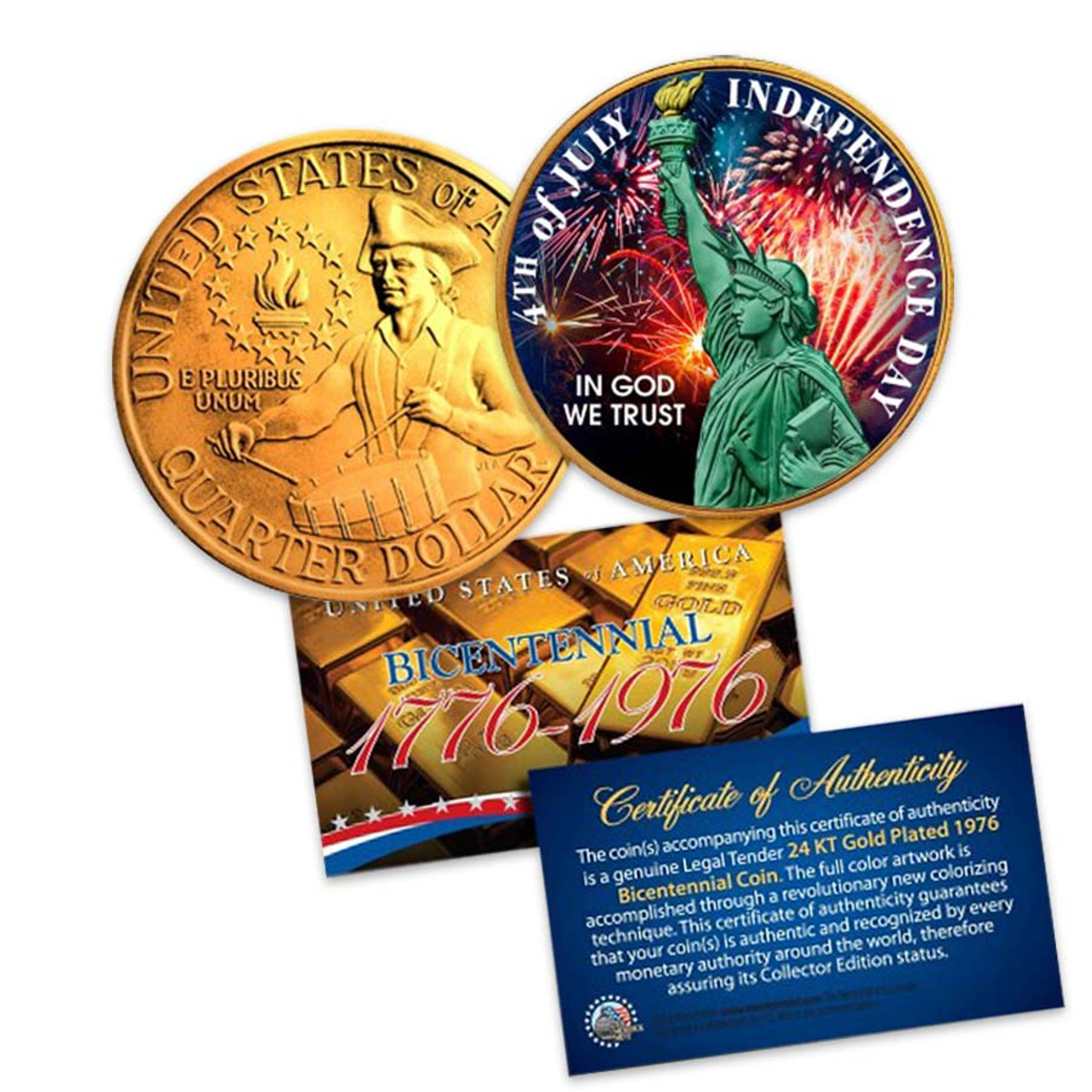 1976 Gold-Plated and Colorized Bicentennial Quarter Image 1