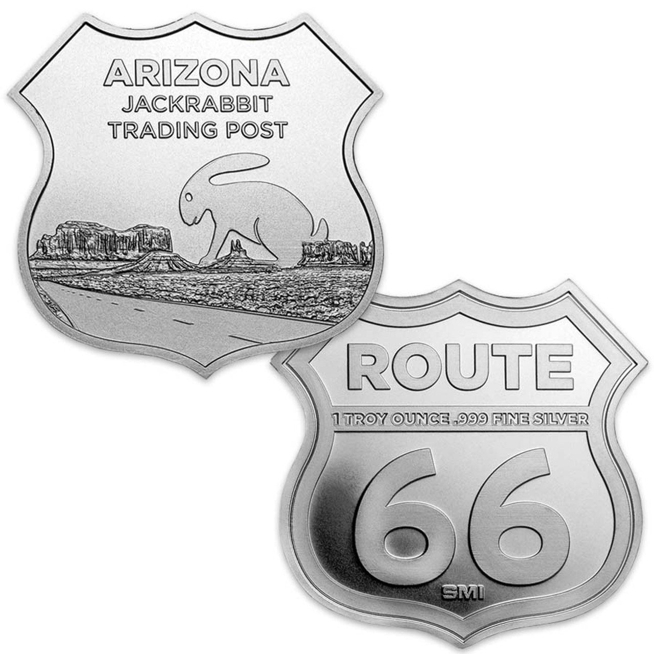 Route 66 Arizona Jack Rabbit Trading Post 1-Oz. Silver Shield Image 1