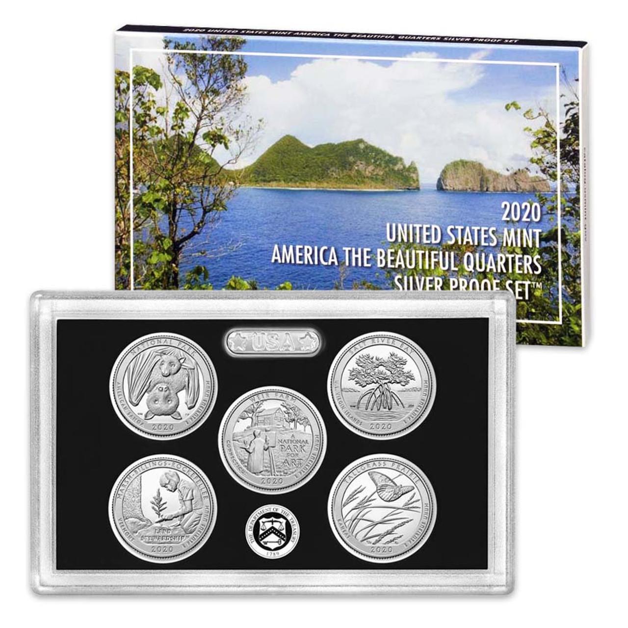 2020 National Parks Silver Quarter Proof Set 5 Coins Image 1