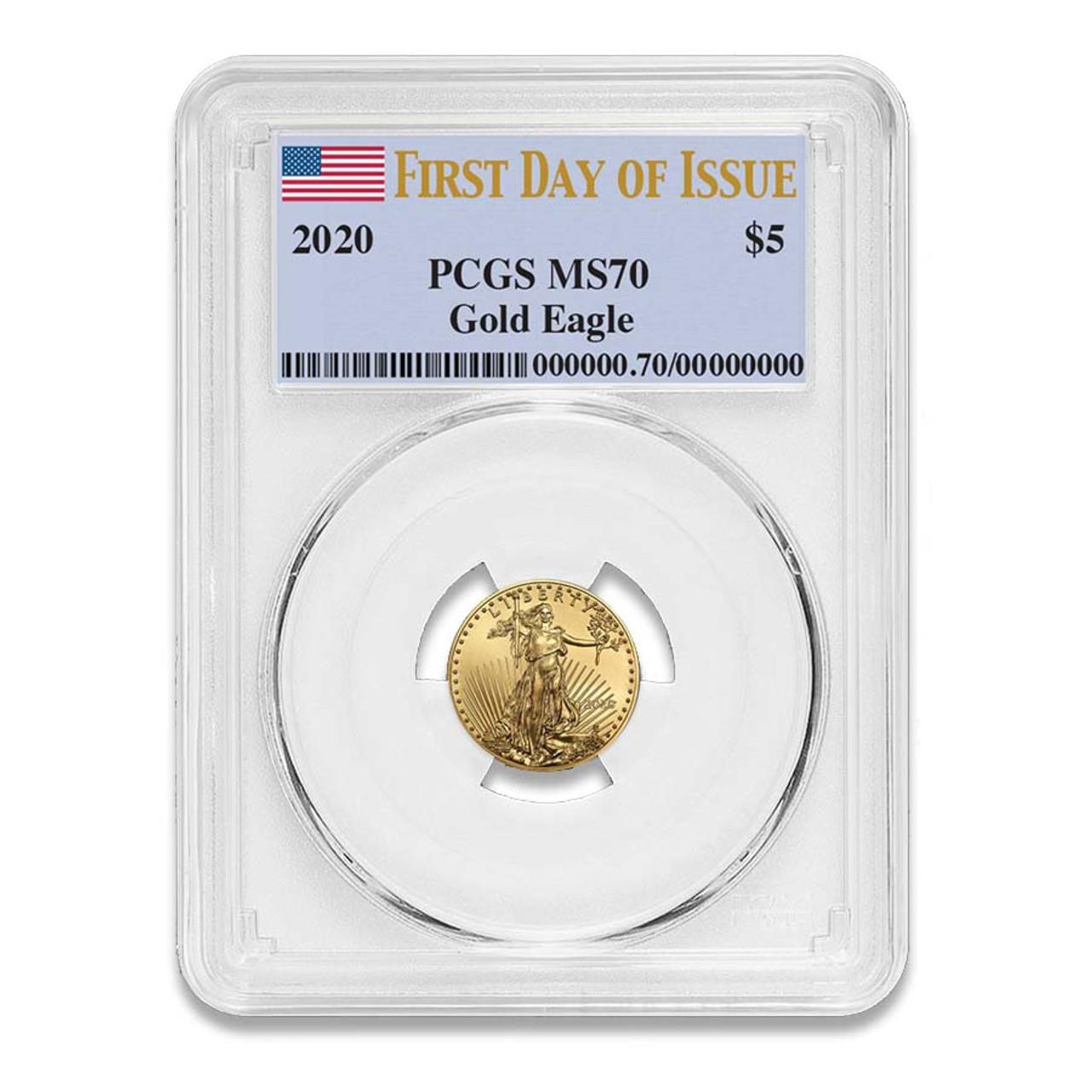 U.S. 2020 1/10 Oz. $5 Gold Eagle Certified MS-70