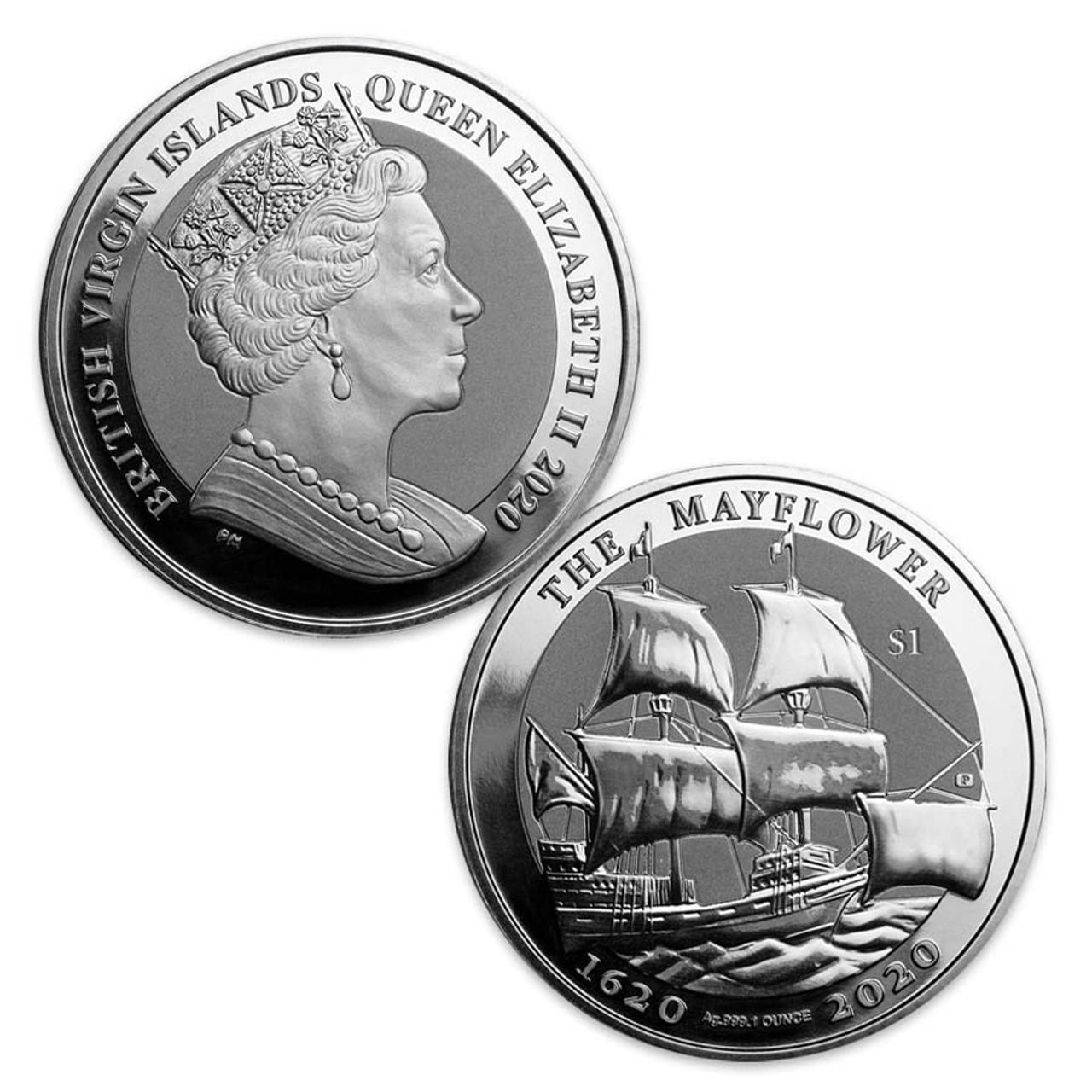 British Virgin Island 2020 Mayflower 1 Oz. Silver Dollar, Brilliant Uncirculated