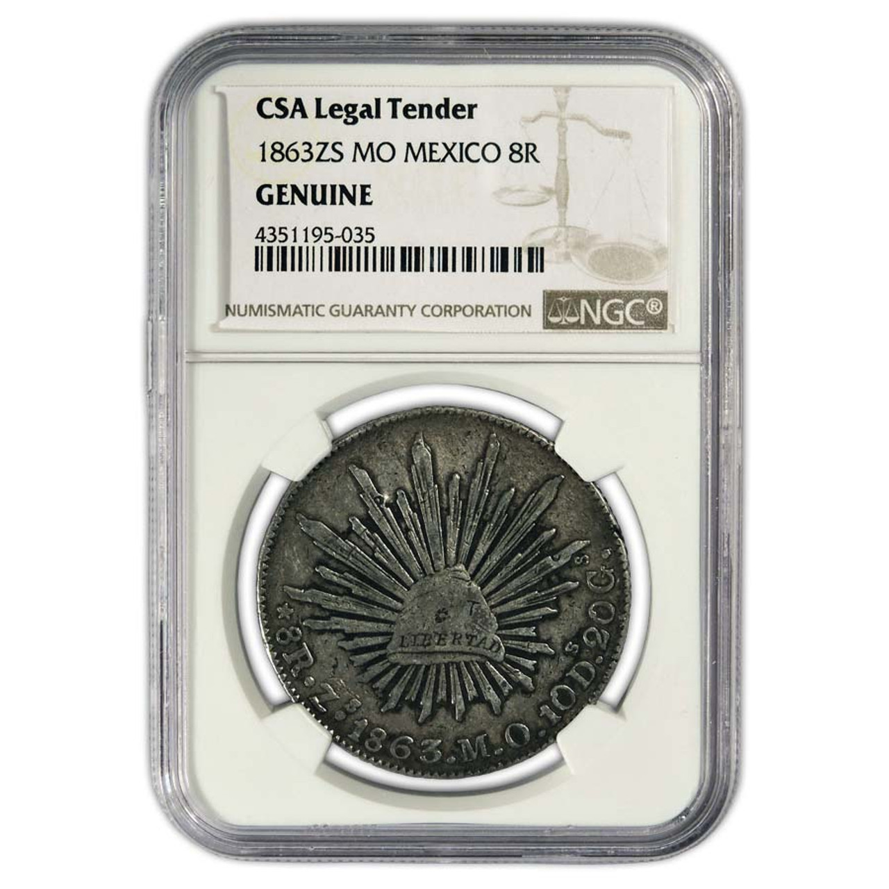 Mexico 1858-1864 Silver 8 Reales Certified Image 1