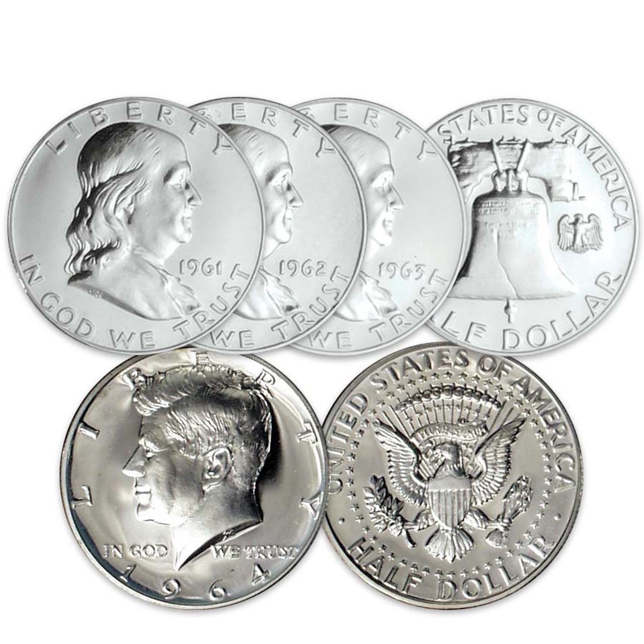 1961-1963 Franklin Silver Half Dollar Proof Trio with 1964 Kennedy Silver Half Dollar Proof