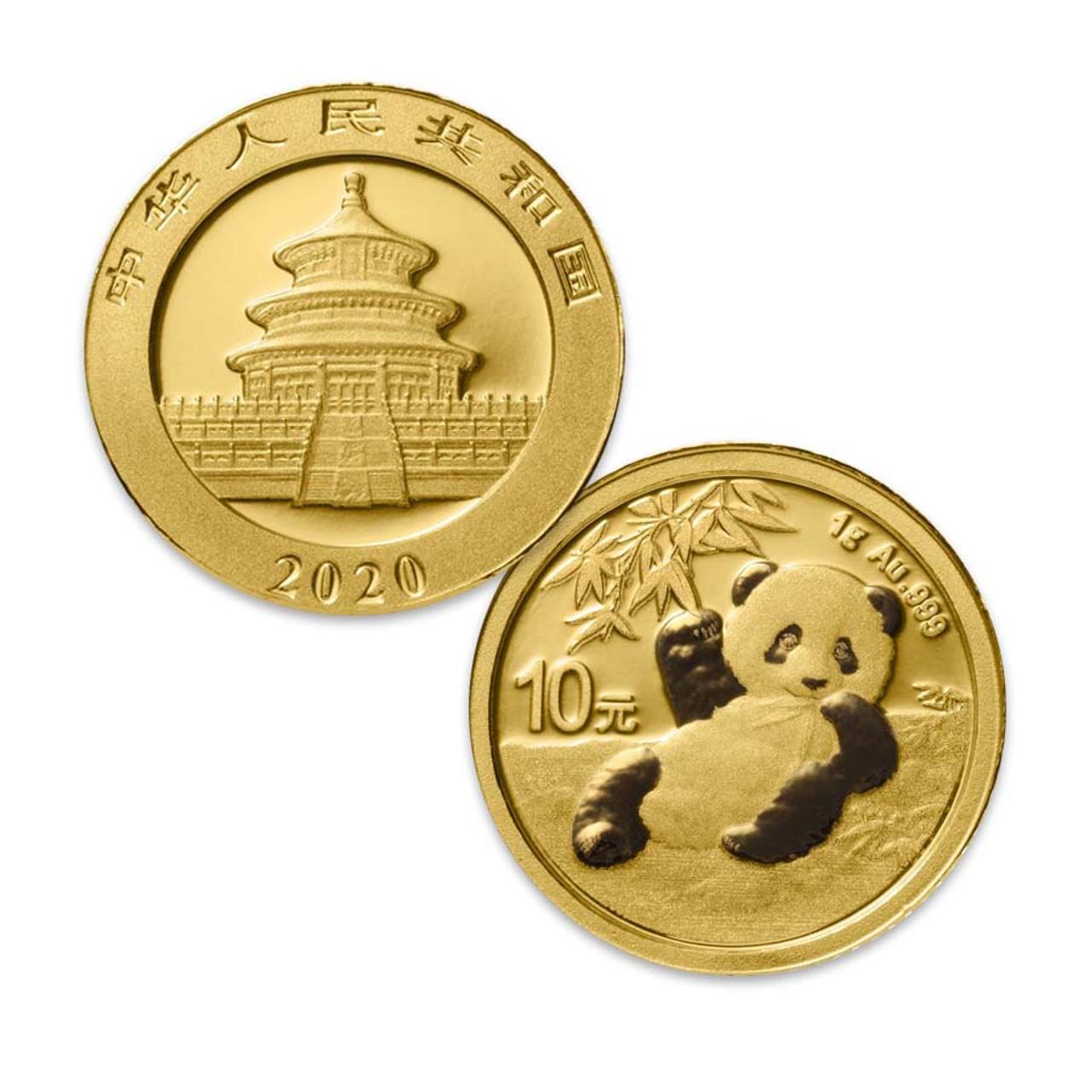 China 2020 Panda 1 Gram Gold Brilliant Uncirculated