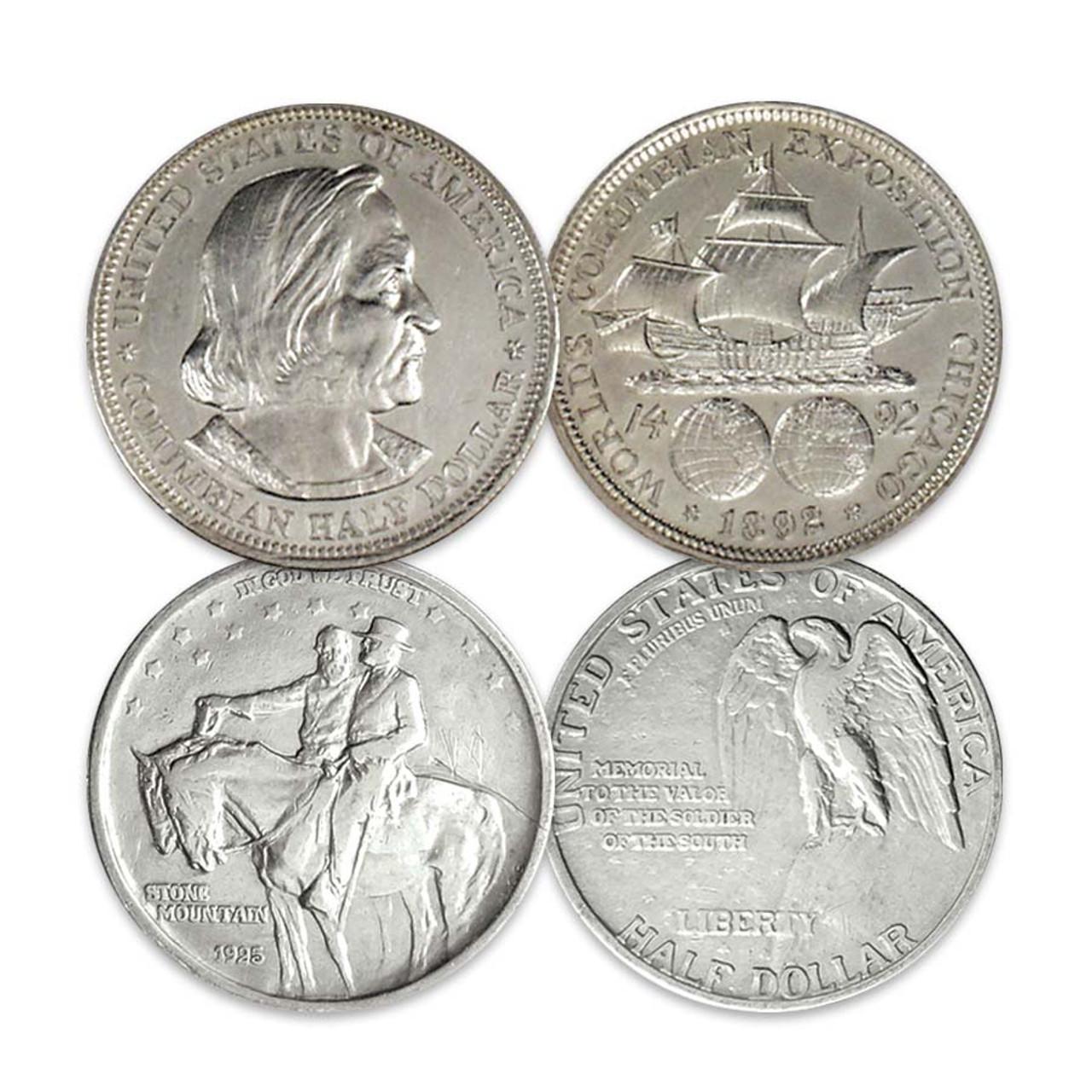 1892 Columbus Half Dollar Extra Fine & 1925 Stone Mountain Half Dollar Very Fine Pair