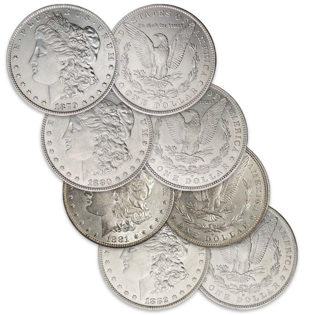 1879-O to 1882-O Morgan Silver Dollar 4-Coin Collection About Uncirculated