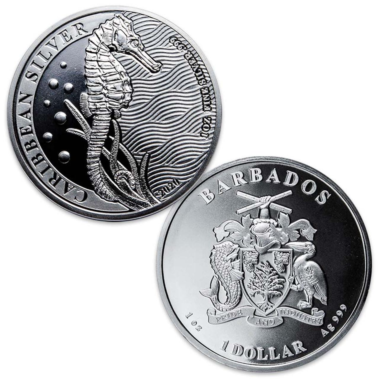Barbados 2020 Seahorse 1-Oz. Silver Dollar Brilliant Uncirculated