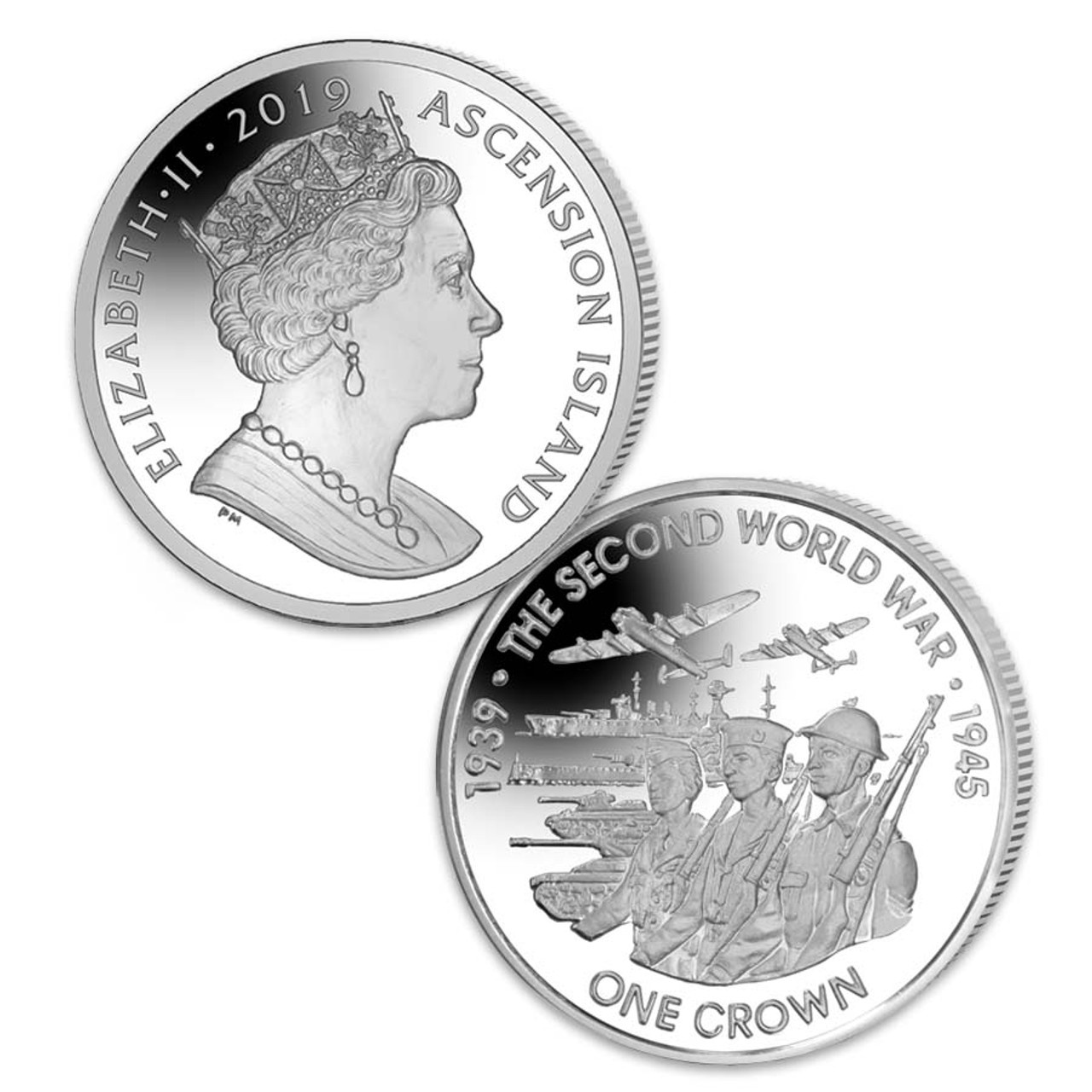 Ascension Island 2019 WWII 80th Anniversary Crown Brilliant Uncirculated Image 1