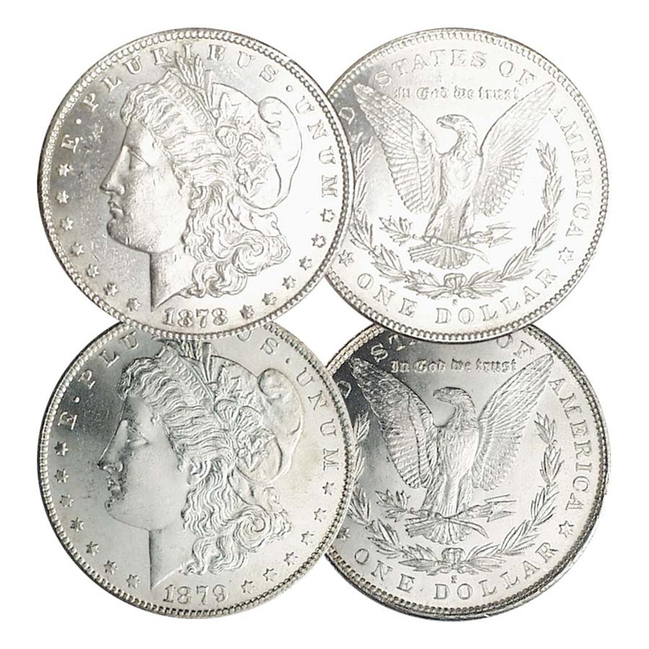1878-S & 1879-S Morgan Silver Dollar Pair Brilliant Uncirculated