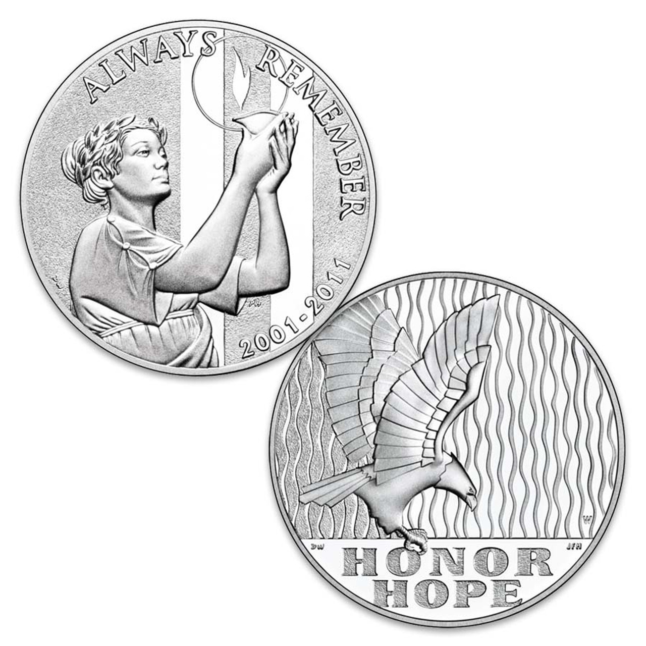 2011 U.S. Mint 9/11 Tenth Anniversary 1-Oz. Silver National Medal Image 1