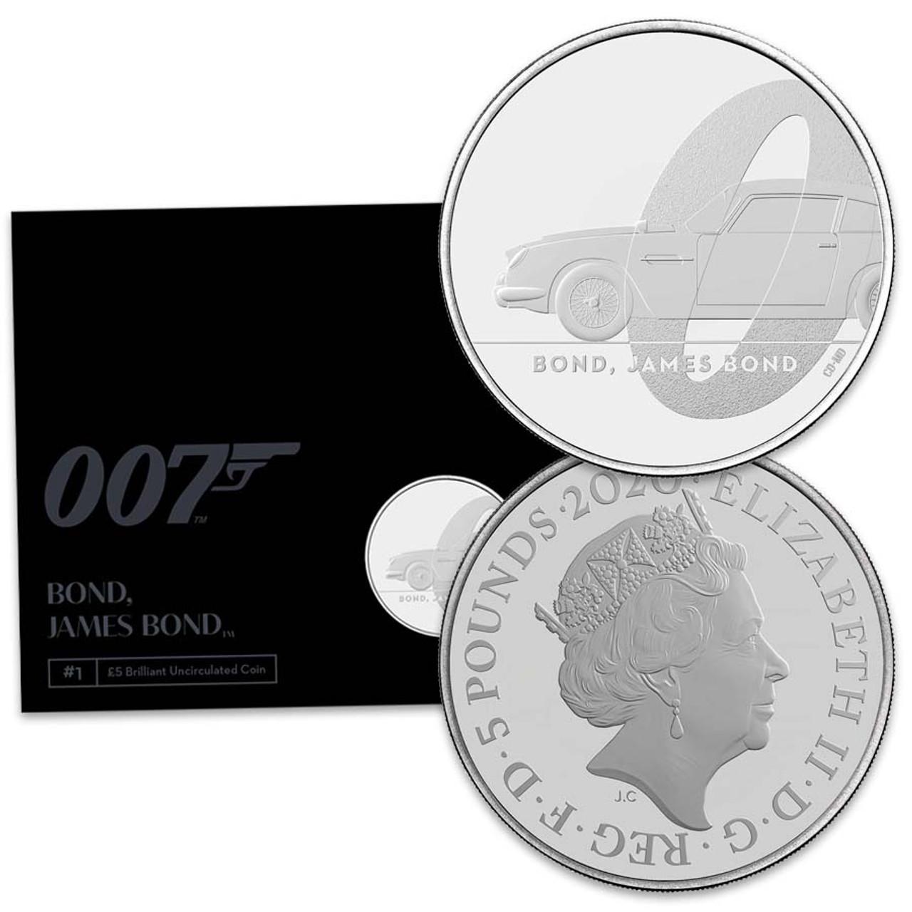 Great Britian 2020 James Bond Aston Martin Copper-Nickel £5 Brilliant Uncirculated Image 1