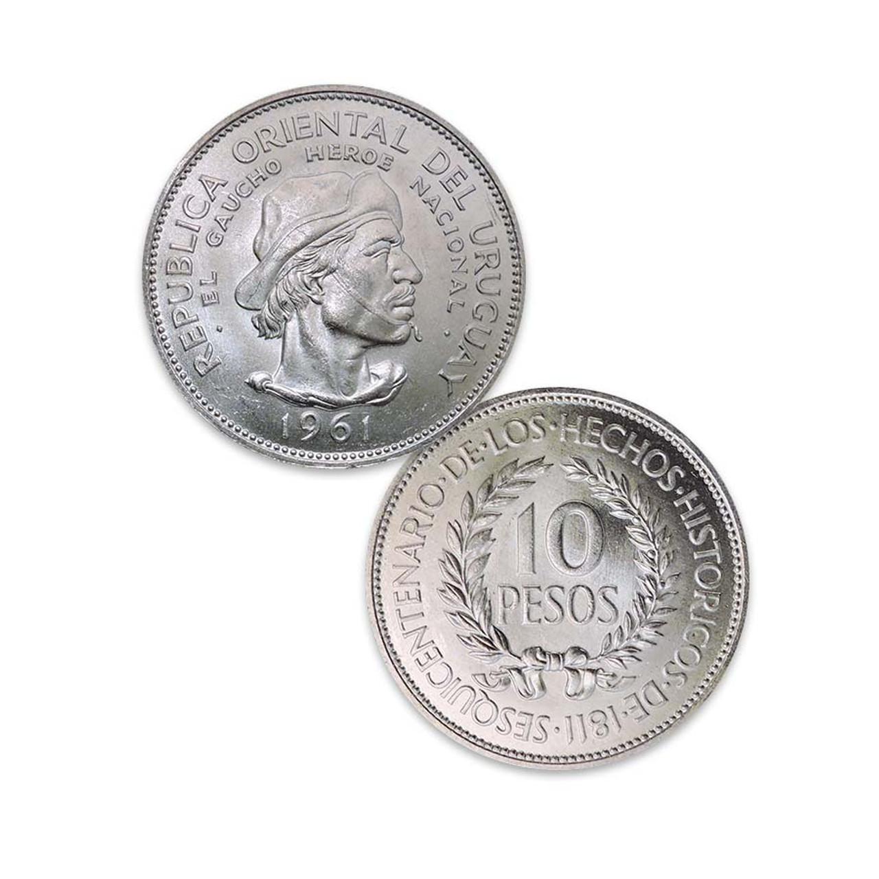 Uruguay 1961 El Gaucho Silver 10 Pesos Image 1