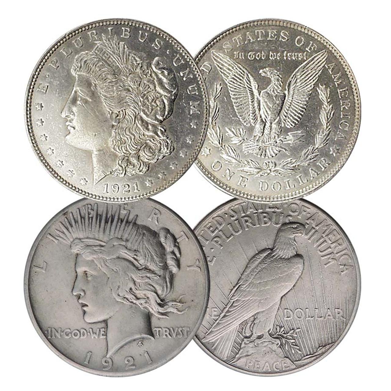 1921-P Morgan & 1921-P Peace Silver Dollar Pair Extra Fine