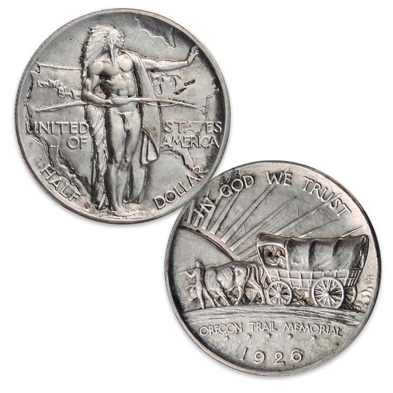 1926-1939 Oregon Trail Silver Half Dollar About Uncirculated Image 1