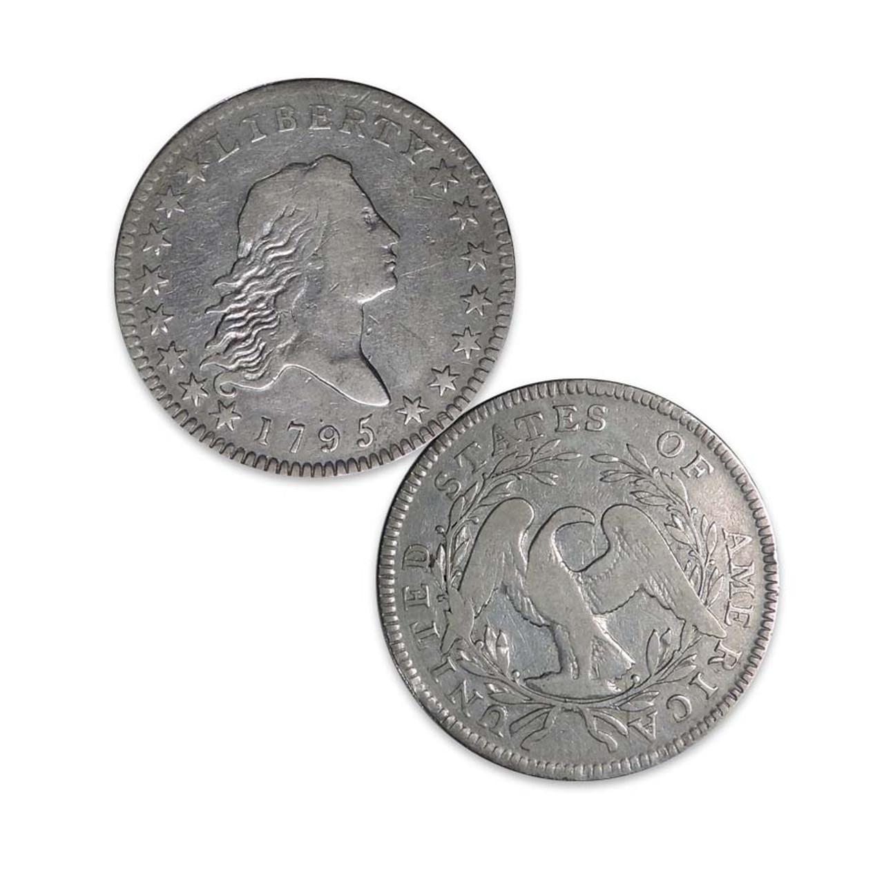 1795 Flowing Hair Silver Half Dollar Very Fine Image 1