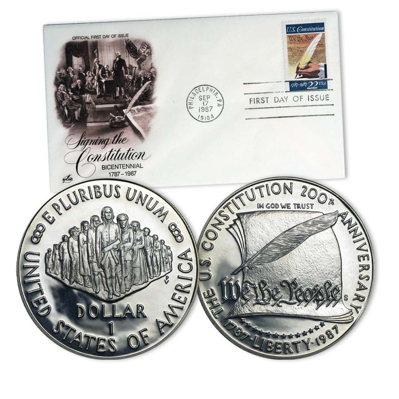 1987 Constitution Silver Dollar Proof with Free First Day Cover Image 1