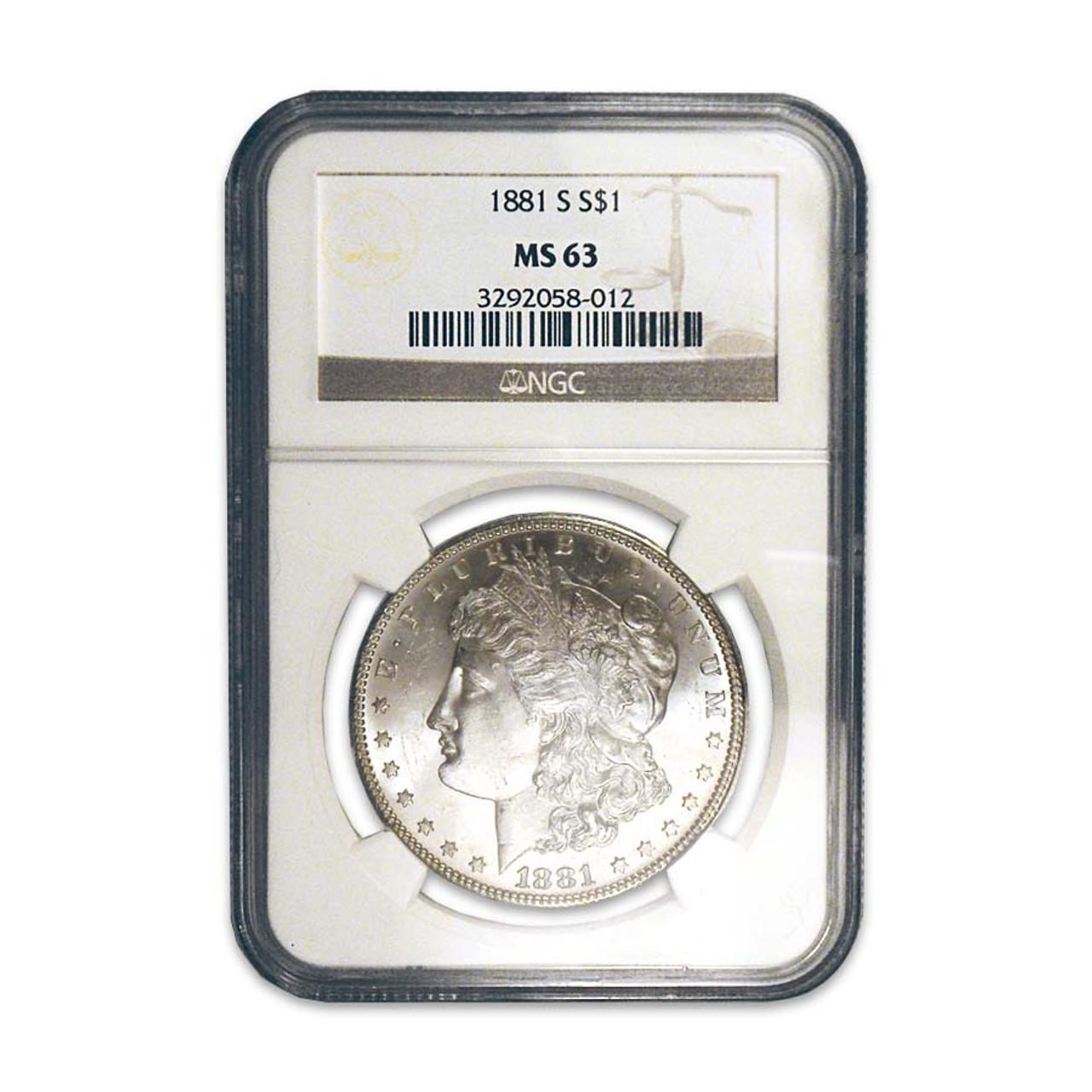 1881-S Morgan Silver Dollar Certified MS-63 Image 1