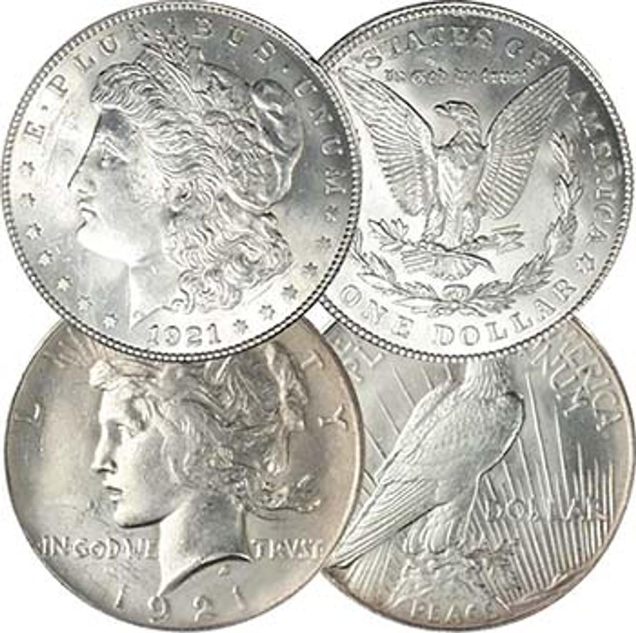 1921-P Morgan & Peace Silver Dollar Pair Brilliant Uncirculated